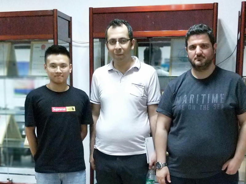 Turkey client came to our Shenzhen factory for portable karaoke speaker project On May 2018