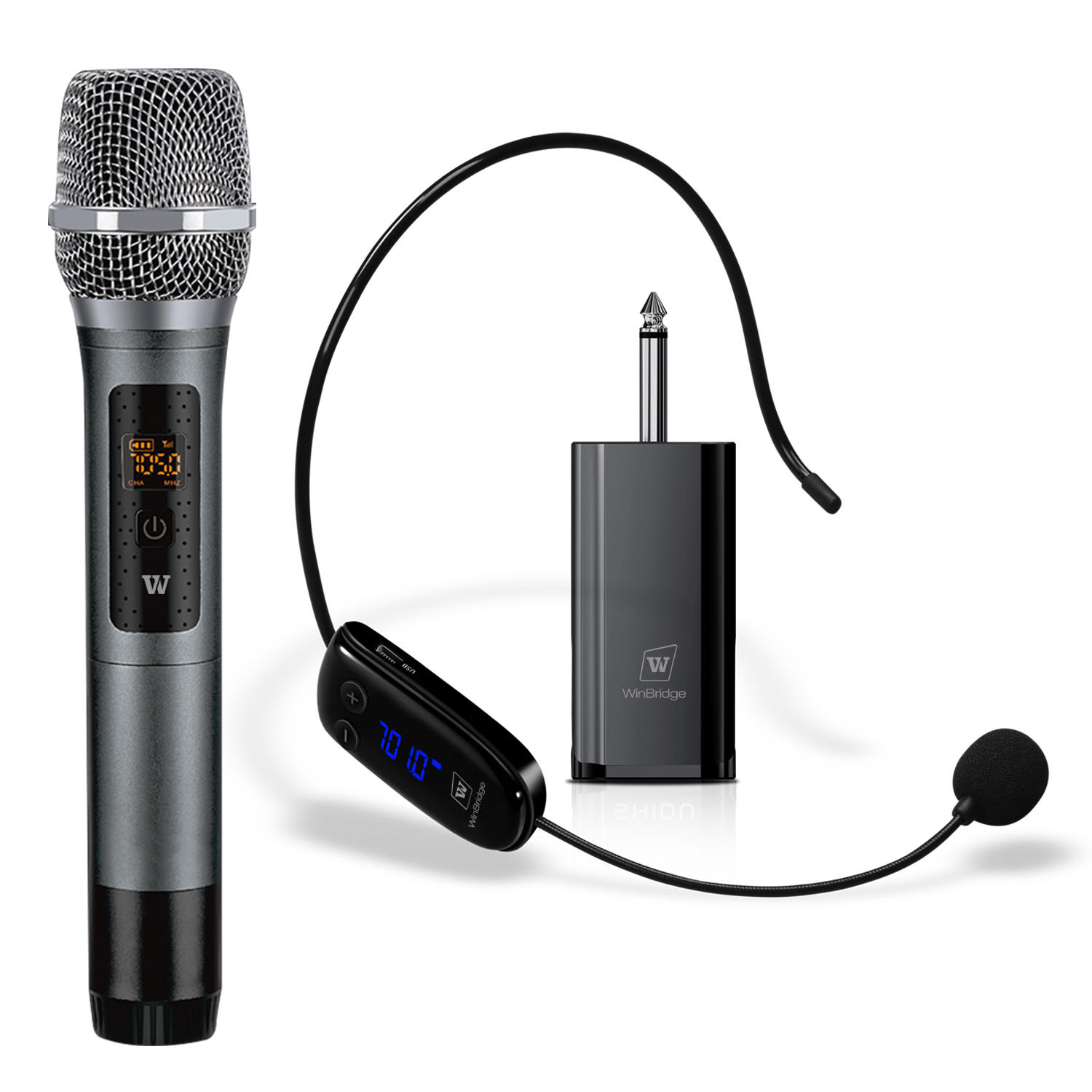 WinBridge WB032 Portable Wireless UHF Headset And Handheld Dual Microphone With Receiver