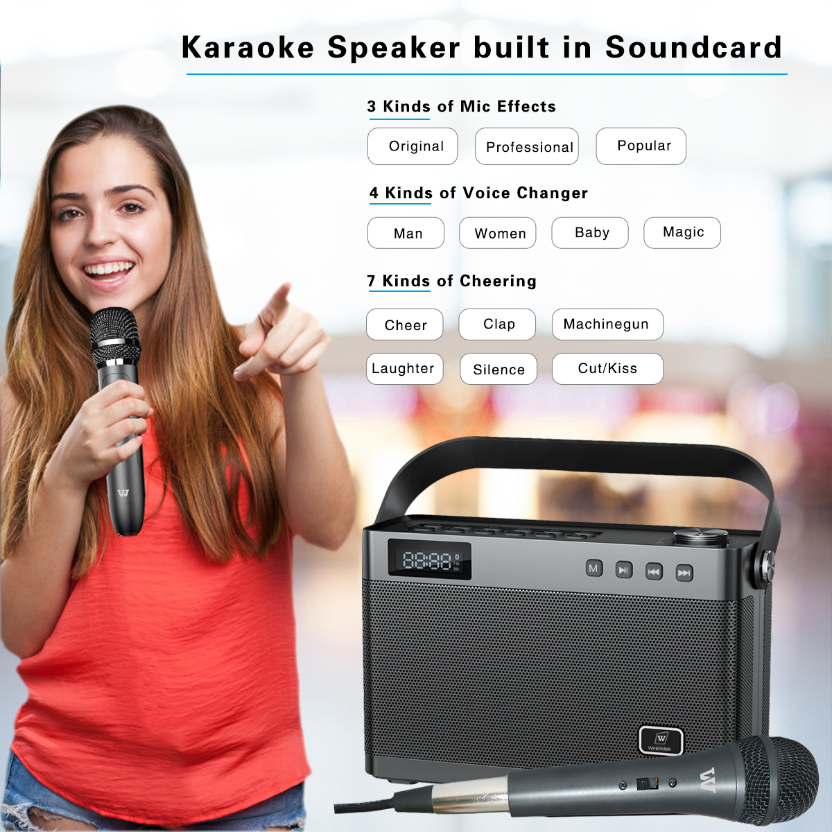 Winbridge bluetooth karaoke speaker factory for street performance