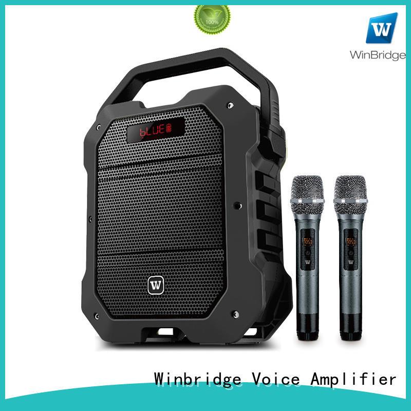 Winbridge karaoke mic with speaker with fm wireless microphone for street performance