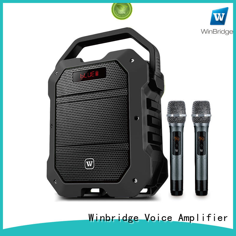 Winbridge karaoke mic with speaker with fm wireless microphone for street performance