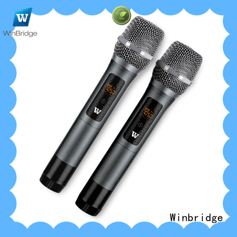 Winbridge portable wireless collar mic with receiver microphone system for karaoke