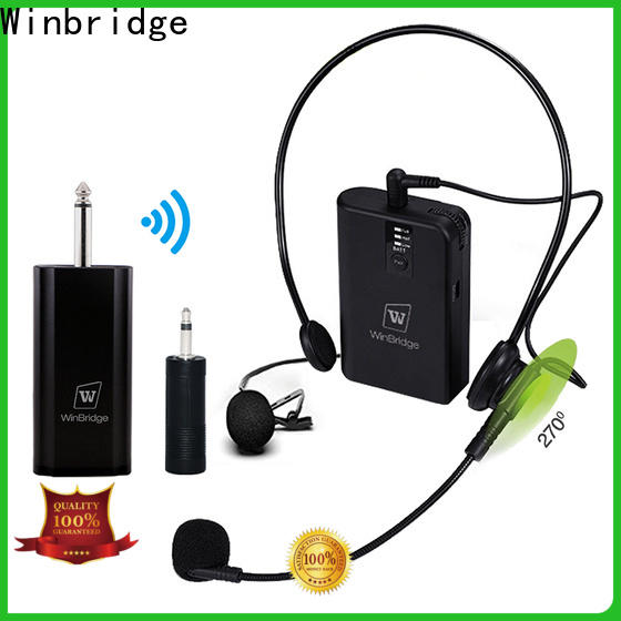 Winbridge portable wireless lapel microphone with receiver microphone system for party